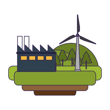 factory and wind turbines eolic green energy vector illustration graphic design Vektorgrafik
