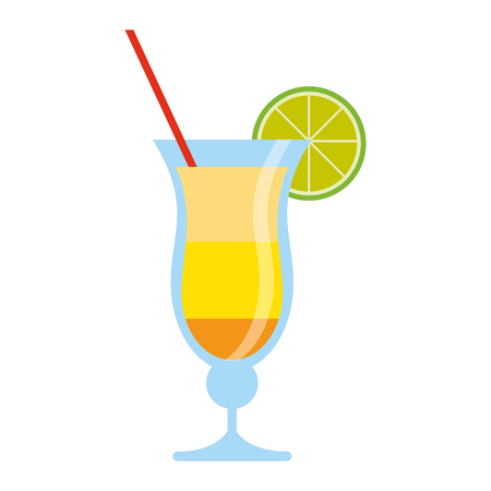 summer cocktail with lemon and straw vector illustration graphic design