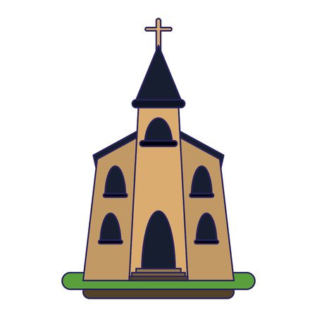Catholic church building symbol vector illustration graphic design