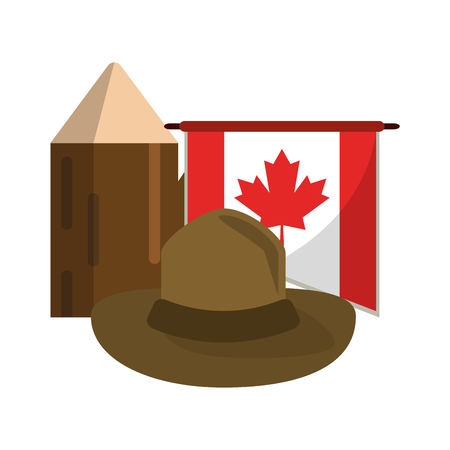 Canada flag with hat and trunk vector illustration graphic design