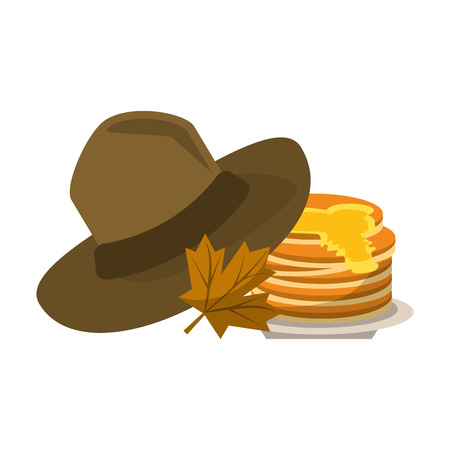 thanksgiving day hat pancakes and autumn leaf vector illustration graphic design