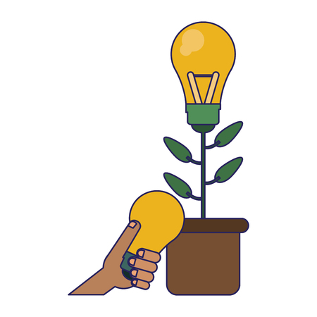 Big idea plat pot and hand with bulb light vector illustration graphic design Illustration
