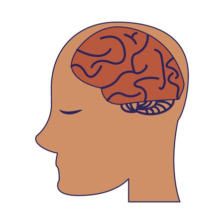 human head with brain symbol vector illustration graphic design Illustration