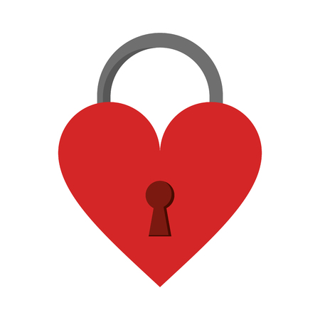 Heart padlock symbol isolated vector illustration graphic design