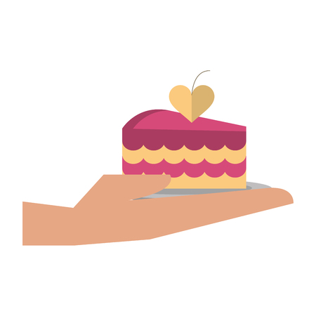 hand with piece of wedding cake vector illustration graphic design