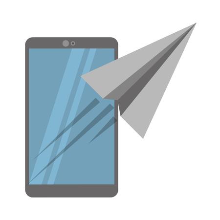 スマートフォンと紙飛行機飛行ベクトルイラストグラフィックデザイン ベクターイラストレーション