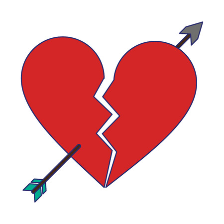 heart broken with bow arrow symbol vector illustration graphic design
