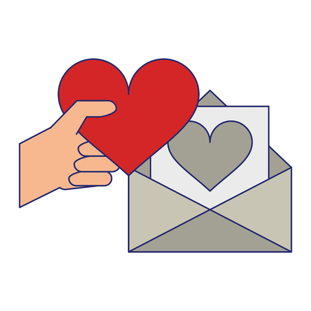 hand with heart and love letter envelope vector illustration graphic design