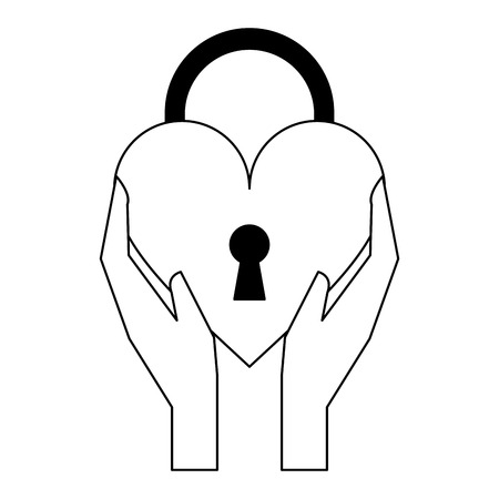 hands holding heart padlock symbol isolated vector illustration graphic design