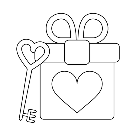romantic gift box and love key vector illustration graphic design