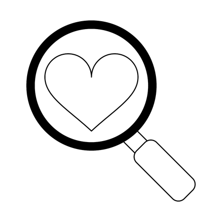 Magnifying glass on heart symbol vector illustration graphic design