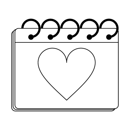 calendar with heart on planner vector illustration graphic design