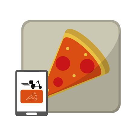 Fast food delivery online with smartphone pizza box vector illustration graphic design Ilustração Vetorial