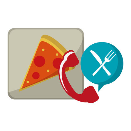 Fast food delivery pizza and telephone vector illustration graphic design