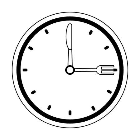 restaurant clock watch with cutlery symbol vector illustration graphic design