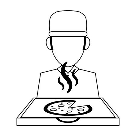 Fast food delivery courier and pizza box vector illustration graphic design