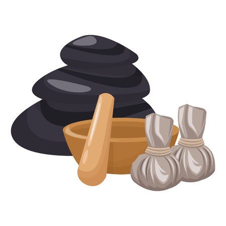 Spa and beauty massage stick and rocks with aromatherapy bags vector illustration graphic design Illustration