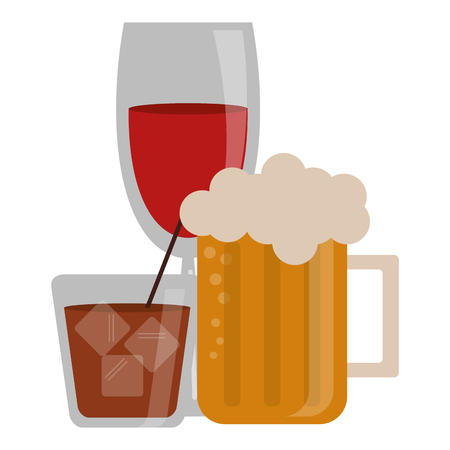 Bar drinks beer wine and whisky cups vector illustration graphic design Illustration