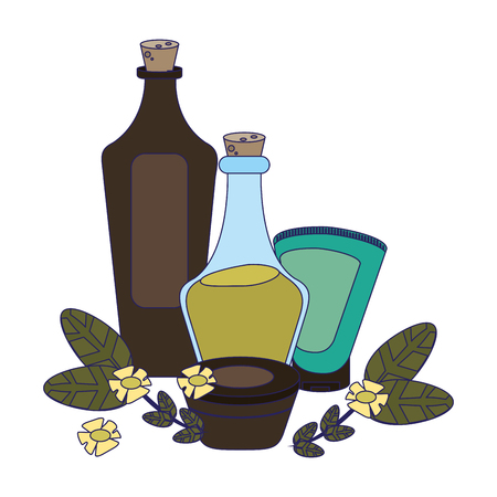 Spa and beauty oil bottles and leaves with flowers vector illustration graphic design 矢量图像