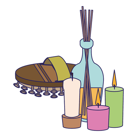 Spa and beauty Spa and beauty wooden massage brush with aromatherapy candles vector illustration graphic design