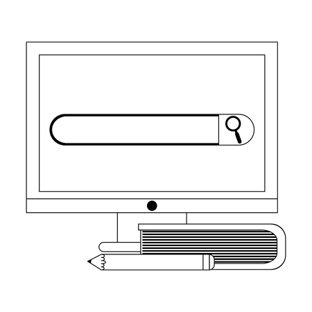 elearning education computer screen and book with pencil vector illustration graphic design