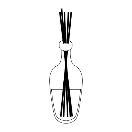 SPA oil bottle with sticks aromatherapy vector illustration graphic design Illustration
