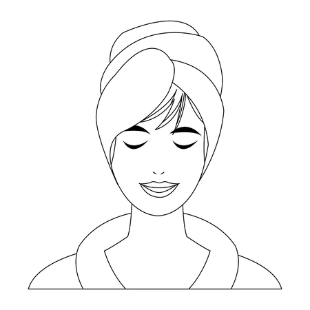 spa woman smiling with towels cartoon vector illustration graphic design