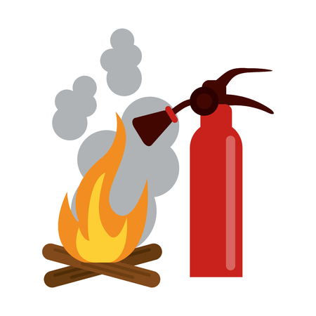 Firefighter rescue emergency extinguisher and bonfire vector illustration graphic design