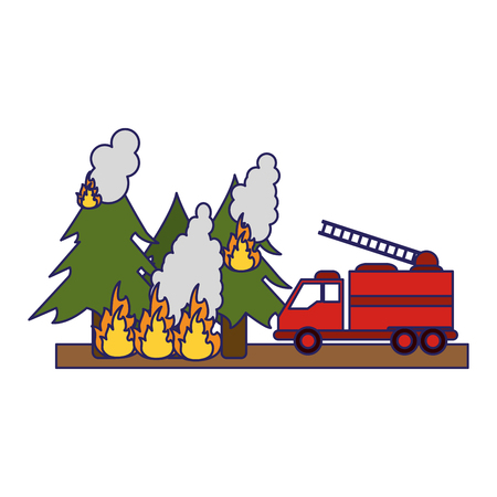 Firefighter rescue emergency forest in fire and truck vector illustration graphic design