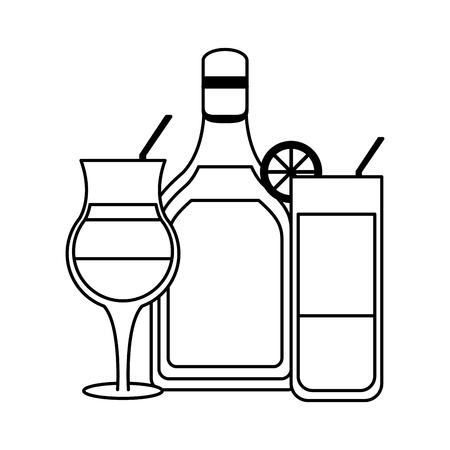 Bar boissons alcoolisées bouteille et cocktails vector illustration graphisme Vecteurs