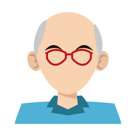 old man faceless with glasses profile cartoon vector illustration graphic design Vettoriali
