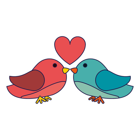 birds couple kiss with heart vector illustration graphic design Illustration