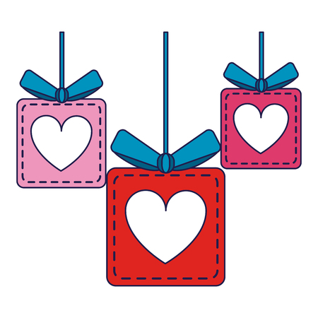 romantic gift boxes hanging symbol vector illustration graphic design