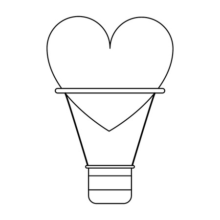 heart hot air balloon symbol vector illustration graphic design