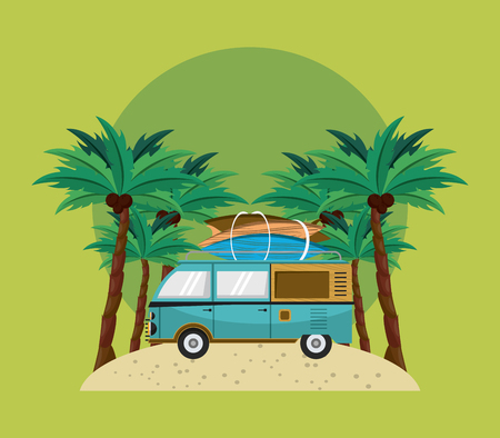 surfing blue van over green background isolated cartoon