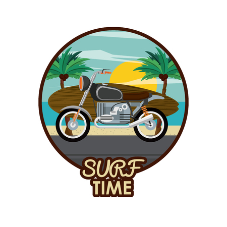 surf time cartoon motor bike with surfboard icon over white background vector illustration graphic design Illustration