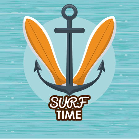 surf time cartoon with surfboards and anchor over blue background vector illustration graphic design