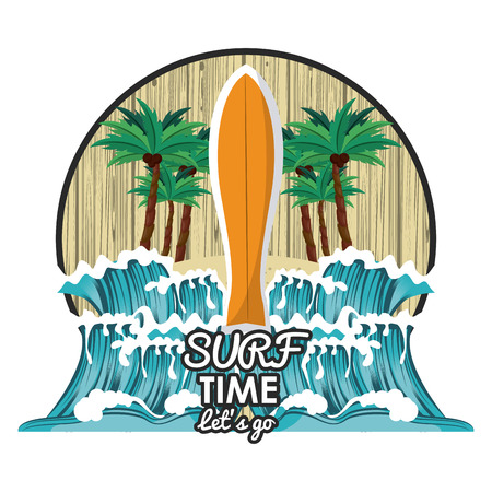 surf time cartoon with surfboard and waves icon over white background vector illustration graphic design