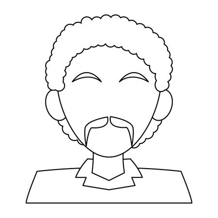 afro man faceless with mustache profile cartoon vector illustration graphic design Illustration