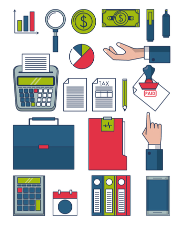Taxes and business investment money symbols collection vector illustration  graphic design
