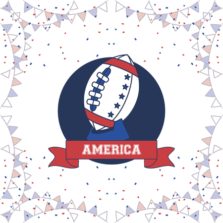 United States of America poster with pennants and ribbon bannner vector illustration graphic design