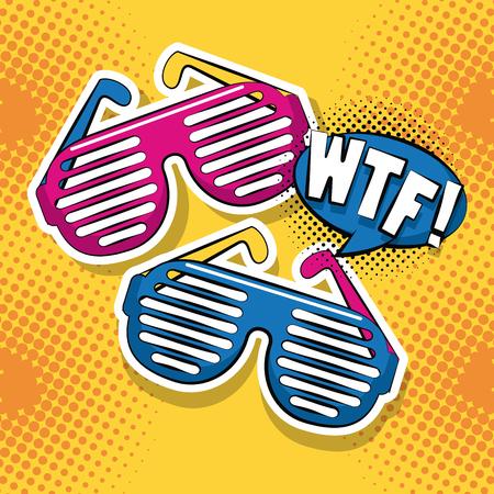 Pop art WTF fashion glasses cartoon yellow background vector illustration graphic design Illustration