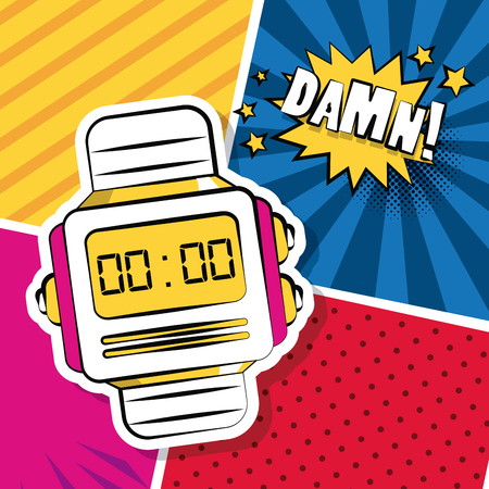 Pop art damn wristwatch cartoons over colorful background vector illustration graphic design