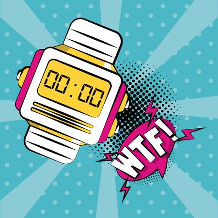 Pop art WTF digital wristwatch cartoon vector illustration graphic design