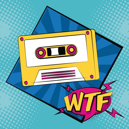 Pop art WTF music cassette cartoon vector illustration graphic design