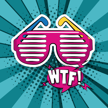 Pop art WTF fashion glasses cartoon vector illustration graphic design Illustration
