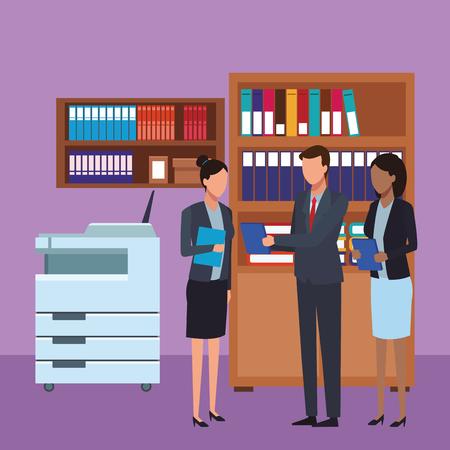business teamwork meeting faceless  inside office building vector illustration graphic design