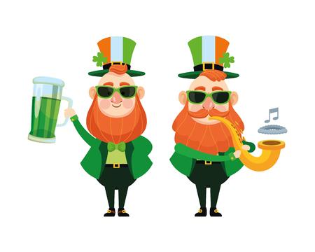St patricks day elves drinking beer and trumpet cartoons vector illustration graphic design Illustration