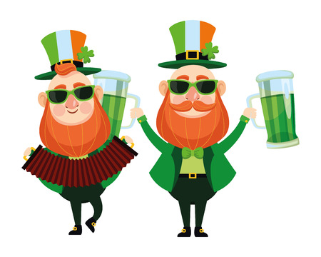 St patricks day elves playing accordion and drinking beers cartoons vector illustration graphic design