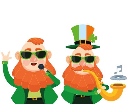Saint patricks day elves with sunglasses playing trumpet cartoons vector illustration graphic design Illustration